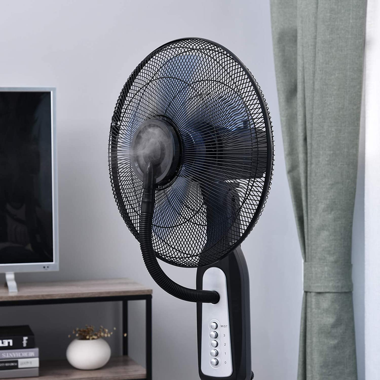 Ventilateur brumisateur sur roulettes oscillant silencieux